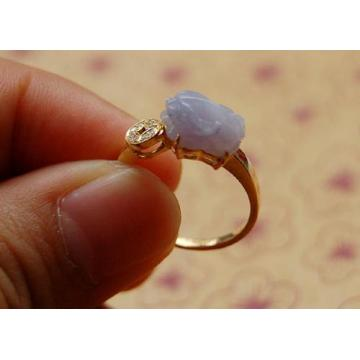 【6130铜钱款紫罗兰小貔貅◎18k金天然翡翠戒指◎送