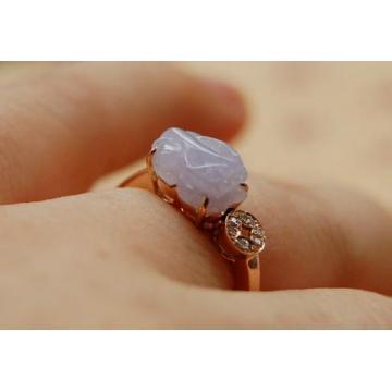 【6101铜钱款紫罗兰小貔貅◎18k金天然翡翠戒指◎送